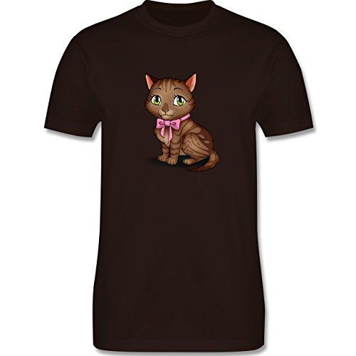Katzen - Kätzchen mit Schleife - Herren Premium T-Shirt Braun