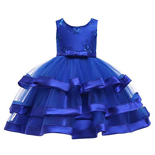 Yfch bambine abiti per cerimonia matrimonio damigella bimba pizzo bowknot ricamo elegant comunione festival partito vestiti, blu, 120/6-7 anni