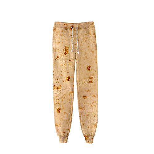 MOTOCO Damen und Herren Freizeithosen Mexican Burrito Biscuits 3D Digitaldruck Bouquet Füße Hosen(M(36),Beige)