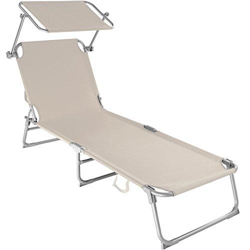 faltbare strandliege TecTake Gartenliege Sonnenliege Strandliege Freizeitliege mit Sonnendach 190cm beige