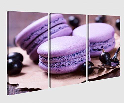 Leinwandbild 3 tlg Keks Kekse lila blau Beeren gelb Küche Essen cup cake Bild Bilder Leinwand Leinwandbilder Holz Wandbild mehrteilig 9W176, 3 tlg BxH:90x60cm (3Stk 30x 60cm)