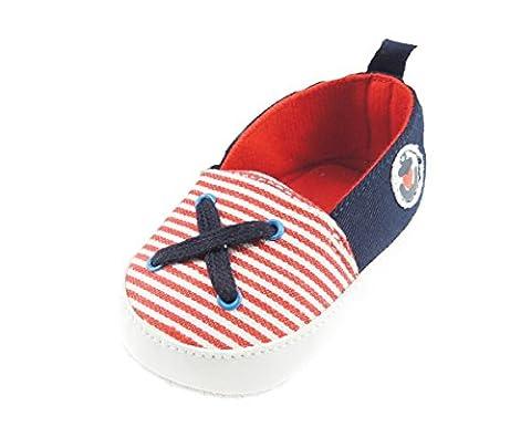 Pré-Trotteur pour bébé fille Rayures Plimsolls Anchor Broderie avec motif - Rouge - Large