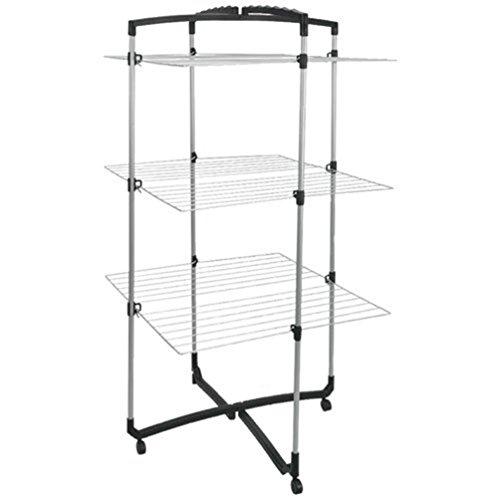 Metaltex 405773039 - Torre de tendederos, 3 pisos, color plateado y negro