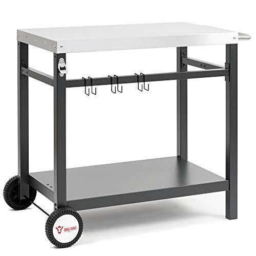 BBQ-Toro Grillwagen 85 x 50 x 81 cm | Metall Beistelltisch mit Edelstahl Arbeitsfläche | Rollwagen zum Grillen | Outdoorküche