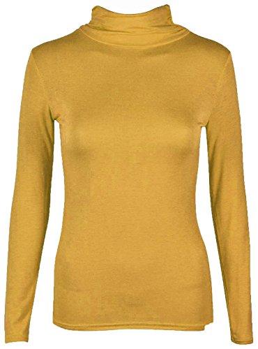Rollkragen Damen Rolli Long Sleeve Stretch Shirt/Top, Gr. 8-22 Senffarben