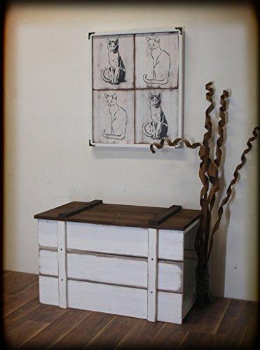 Luxus Katzentoilette, Katzenklo, Truhe'Posh' Vintage-Look, Massivholz