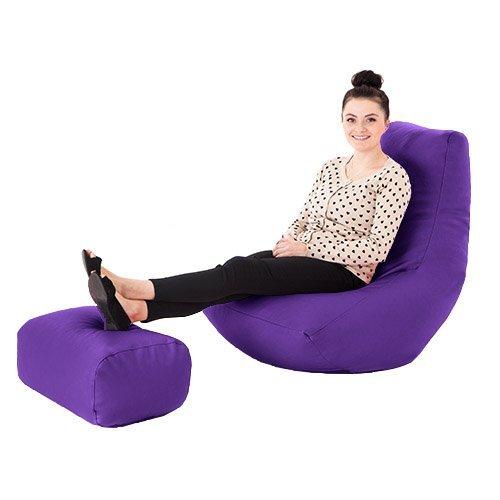 Für Teens Gaming-stühle (Lila Kunstleder Gaming Highback Sitzsack Liege Stuhl mit Fußhocker)