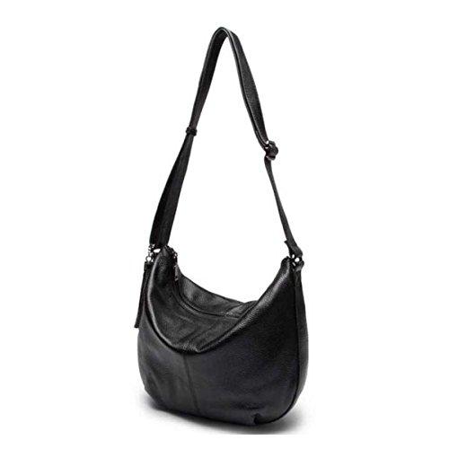 Messenger Bag In Pelle Delle Donne Del Sacchetto Di Spalla Semplice Black