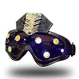 WLXW Kombination Aus Taktischer Maske Und Brille, LED-Punk-Steam-Gothic-Retro-Karneval-Herrenbrille, Sci-Fi-Rollenspiel-Requisiten, Mechanische CS-Leuchtbrille,Silber,Yellowlight -