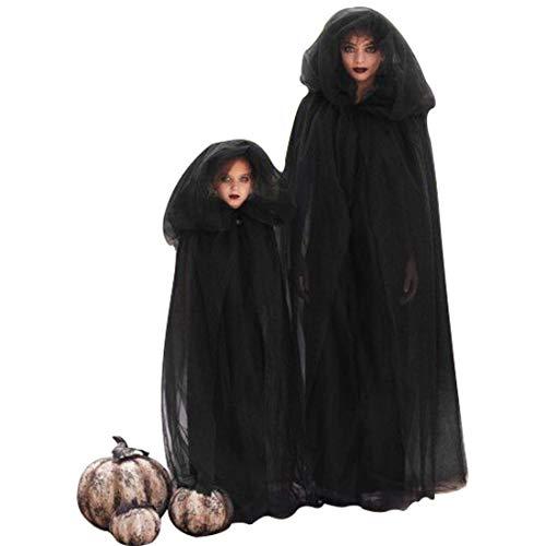 Tüll Kind Kostüm Cape - J&L Mittelalterlicher Umhang Schwarz Damen Kinder Kostüm Halloween Hexe Cape Umhang Mit Kapuze Geschichteten Tüll