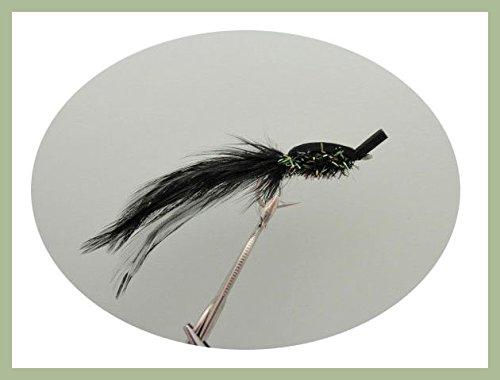 Hecht Angeln Fliegen, 4Stück schwarz gurglers, Auswahl von Größen erhältlich