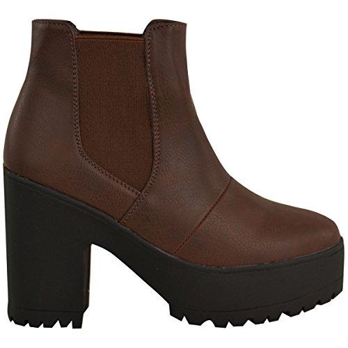 Moda Mujer Sedienta Botines Chelsea Chunky Plateau Block High Heels Slip On Size Cuero Sintético Marrón
