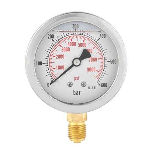 """63mm Analog Gasdruckanzeige 0-600Bar 0-8500Psi für Wasser Luft Öl Dial Instrument Basis Eintrag G 1/4"""""""