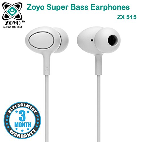 Zoyo Stereo Earphone Hands-Free 3.5Mm Jack In-Ear Super Extra Bass Headphone Headset With Mic Compatible with Samsung, Motorola, Sony, Oneplus, HTC, Lenovo, Nokia, Asus, Lg,Oppo,Vivo, Coolpad, Xiaomi, Micromax and All Mobiles.  available at amazon for Rs.199
