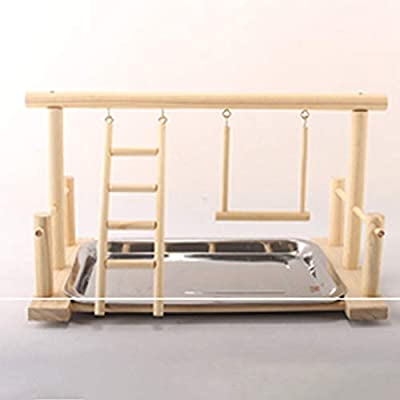 TOOGOO Wood Play Stand and Stainless Steel Tray Pet Bird Frame Station Parrots Playground Perch Gym Training Stand Bird Comfortable Toys from TOOGOO