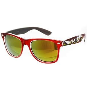 Oramics ® occhiali neri da sole Wayfarer retro della nullità chiaro e nero (pattern1 rosso)