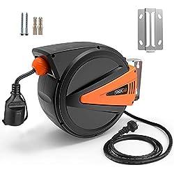 TACKLIFE Enrouleur Electrique Automatique; 15M+1M de Câble 3×1.5 H05RR-F, Protection Contre La Surchauffe, 1100W (Entièrement Rétracté), 3200W (Entièrement Dessiné)