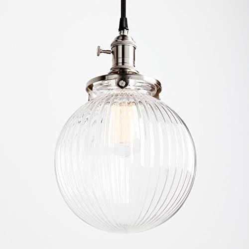 1949shop Industrielle Vintage Moderne Victoria Decke Pendelleuchte Leuchte Loft Bar Küche Insel Kronleuchter mit gebürsteten Leuchten gerippt Globus klar Glasschirm -