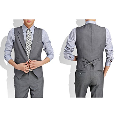 Laixing Qualité Formal Men's Slim Business Wedding Tuxedo Casual Suit Vest V-neck Waistcoat Grey