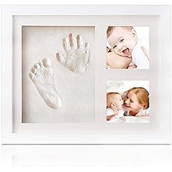 Marcos de foto de bebé handprint y huella, marco de madera bebé con acrílico seguro y no tóxico, seguro arcilla