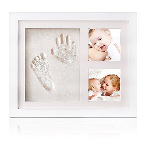 Baby Bilderrahmen für Handabdruck- und Fussabdruck, Echtholz Babyrahmen mit sicherem Acrylglas und keine giftigen, sicheren Abdruckmasse