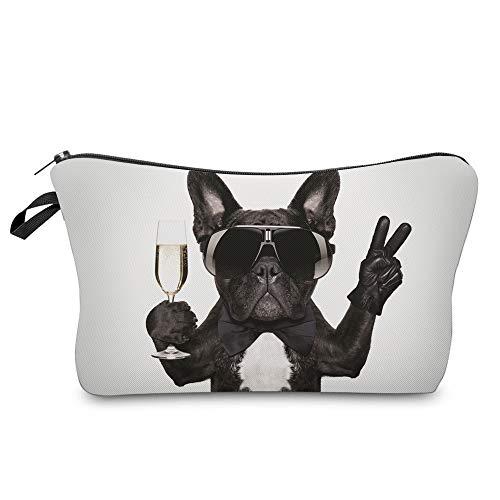 Smallbox 3D Druck Frauen Klassische markeup Reise Schminktasche Geldbeutel Verfassungsbeutel Kulturbeutel(inklusive Gläser Taschen) (Brille Hund)