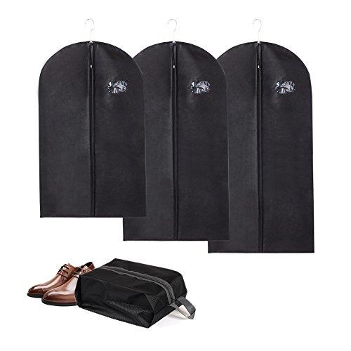 Yosoo Packung mit 3 Größen Breathable Garment Bags + Schuhbeutel Set, Staubdicht Thicken Non-Woven...