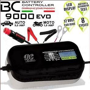 BC Battery CONTROLLER BC 9000 EVO caricabatterie mantenitore auto moto digitale 8 cicli con CAVI ACCESSORI
