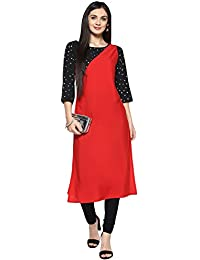 Ziyaa Women's Red Color Foil Print Straight Kurta