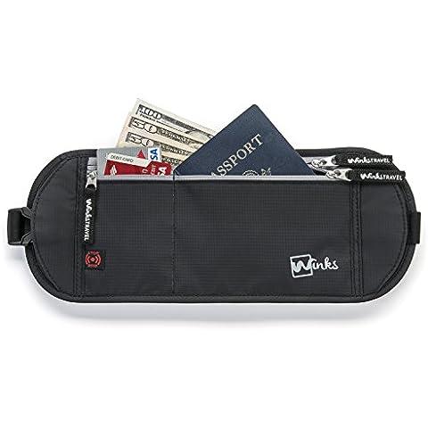 Cinturón de viaje para el dinero Winks riñonera oculta con bloqueo de RFID de máxima durabilidad