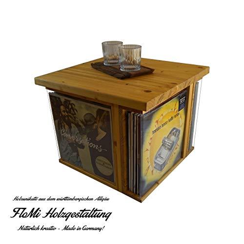 FloMi Schallplatten Tisch 48+ LPs • Schallplatten Aufbewahrung • Holz • Couchtisch mit Klappe • Handarbeit Made in Germany - Frame-couchtisch