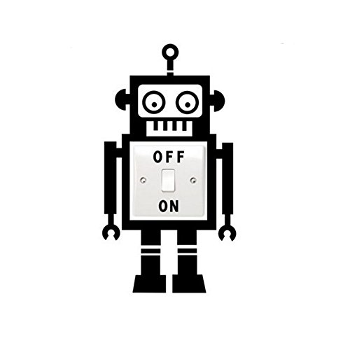 KaKa Billig, Cute Lovely Schwarz Robot Off Signs Funny Wall Aufkleber PVC  Abnehmbare Lichtschalter Aufkleber Für Kinder Schlafzimmer