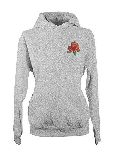 Rose Graphic Artwork Love Flower Femme Capuche Sweatshirt Gris