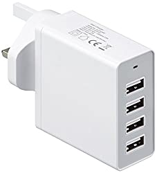 Amazonbasics 4-port Usb Wall Charger (8 Amp), White