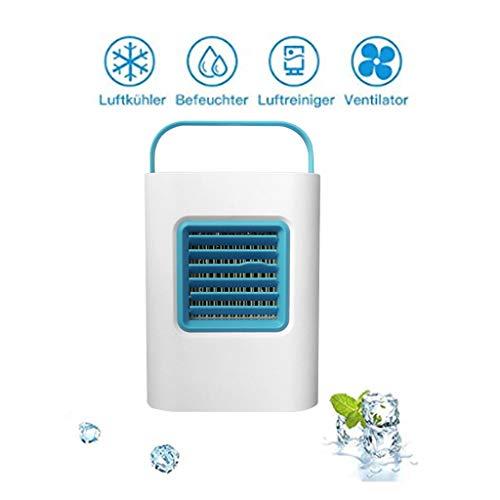 Mobile Klimaanlage Verdunstungskühler Mini Air Cooler Luftkühler Abkühlen Ventilator Luftbefeuchter USB Tragbar Fan mit LED Atemlicht, 3 Speed, für Büro, Haus, Reisen, Schlafsaal VNEIRW (Blau) - Speed-fernbedienung