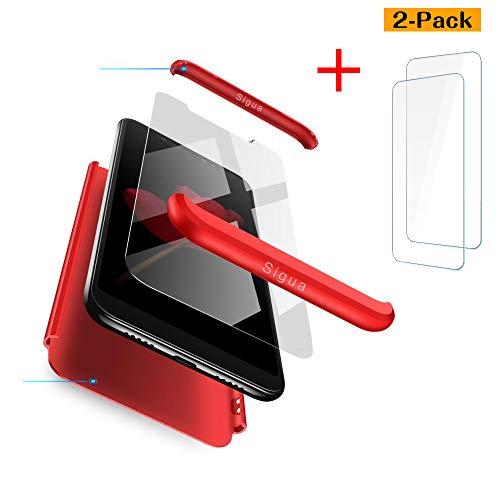 sigua Funda Compatible Xiaomi Mi Mix 2, 3 in 1 Slim Fit Protectora Cover Caso Carcasa Choque Resistente 360 Grados Protección Ultra Slim Cubierta PC Hard Case + Cristal Templado,Rojo