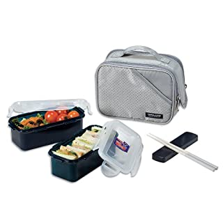 Lock & Lock Bento Lunch Box Set w/spoon&fork Insulated Bag Large HPL762DG (Gray)