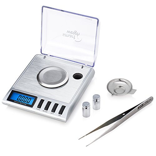 Smart Weigh Digitale Taschenwaage, Feinwaage, Goldwaage, 20 x 0,001 g, Mit Tara-Funktion, Kalibriergewichte Und Pinzette Sind Inbegriffen