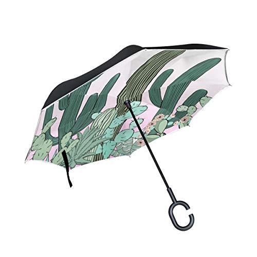 Prickly Pear Green Plants Double Layer Folding UV Schutz Winddicht Regen Gerade Autos Golf Reverse Inverted Umbrella Stand Mit C förmigen Griff - Birne Stand