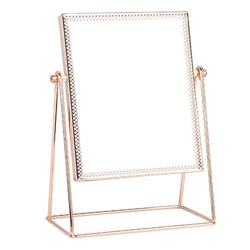 368° inspiration Schminkspiegel Princess Metal Desktop Stand Spiegel Personal Framed Makeup Seitenspiegel 360 Grad Rotating Rose Gold Tri-Angle Seat Streamline (Color : Rose Gold)