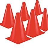 Kosma Set di 10 Coni stradali per allenamenti | Palloni da Golf Multiuso Coni per Calcio Allenamento con palloni da Calcio - Dimensioni: 6 Pollici (Colore - Rosso)