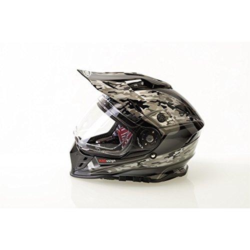 Viper RXV288 DVS Motocross Motorradhelm mit ACU Genehmigt Enduro MX Helm für den On- und Offroad-Einsatz Camo Schwarz XS(53-54cm) (Camo Orange Flame)