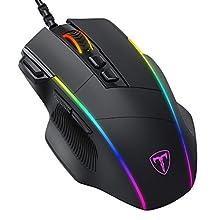 ITAT1-IT New PICTEK Mouse Gaming, Mouse RGB Ergonomico da 8000 DPI (5 livelli), 8 Pulsanti Programmabili, 7 Modalità di Illuminazione RGB Personalizzabili