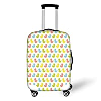 Travel Luggage Cover Suitcase Protector,Rubber Duck,Colorful Ducklings Baby Animals Theme Pastel Girls Boys Newborn,Pink Blue Green and Yellow,for Travel,S
