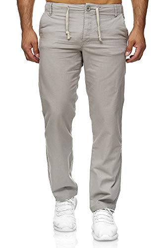 Reslad Leinenhose Männer Chino Herren-Hose lockere Sommer Stoffhose Freizeithose aus bequemer Baumwolle lang RS-3000 (XL, Hellgrau)