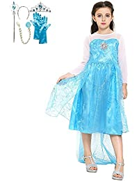 Katara - Disfraz de la princesa Elsa de Frozen - vestido azul de la Reina del Hielo con tiara, guantes, trenza por el pelo y  varita mágica para niñas  de 2-3 años - ideal para bodas y bailes
