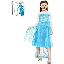Frozen - Disfraz Reina de Nieve, set con tiara, guantes y la varita magica, para niñas de 2-3 años, color azul (Katara)