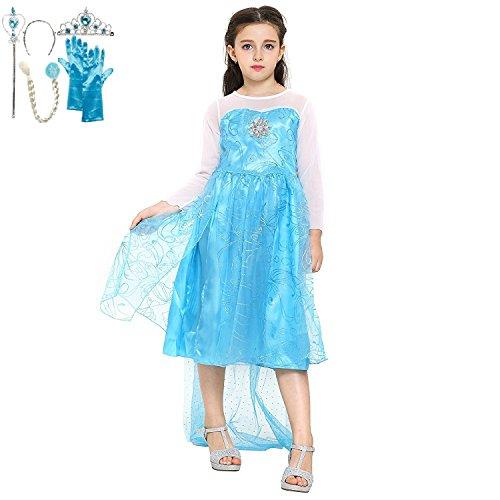 Katara Blaues Frozen Eiskönigin Elsa Kostüm-Kleid mit Diadem, Handschuhen, Zauberstab und Zopf, Gr. 104/110