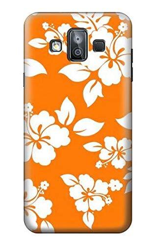 Innovedesire Hawaiian Hibiscus Orange Pattern Funda Carcasa Case para Samsung Galaxy J7 Duo