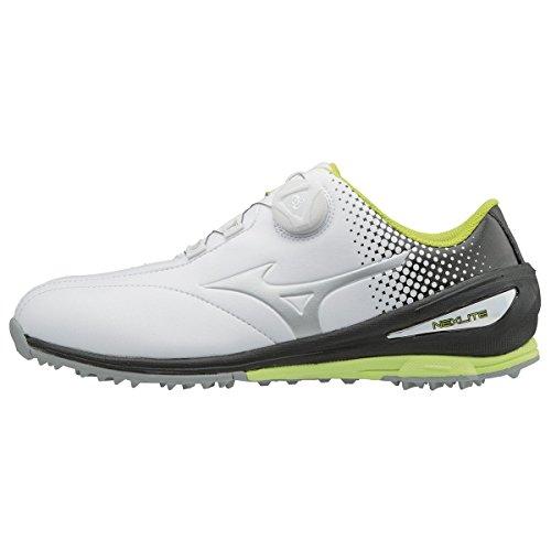 Mizuno 2018 NEXLITE 004 BOA Spikeless Imperméable Chaussures de golf pour hommes - White/Black 9UK